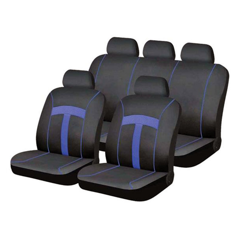 Seat Cover Set 9pc Blue T-style