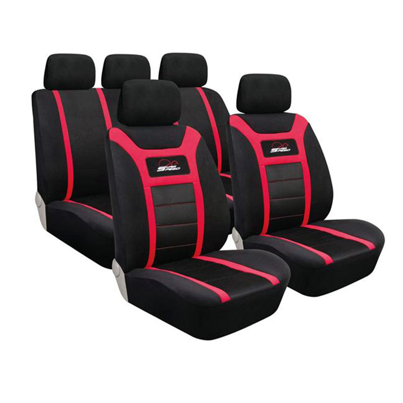Seat Cover Set 9pc Red Super Speed