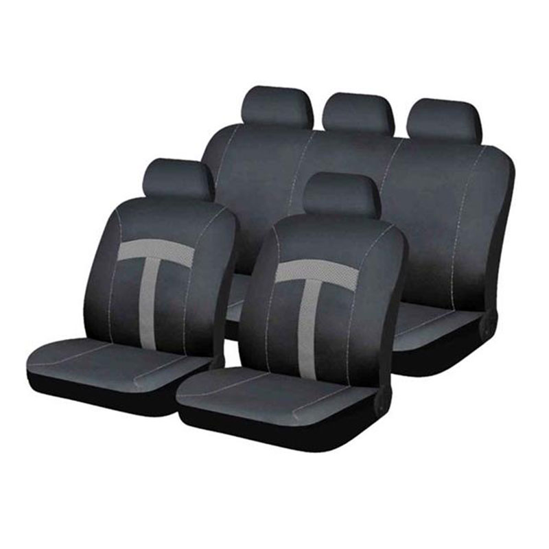 Seat Cover Set 9pc Grey T-style