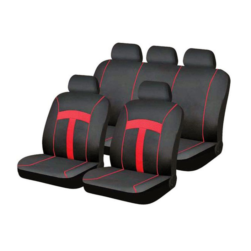 Seat Cover Set 9pc Red T-style