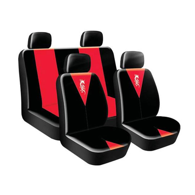 Seat Cover Set 8pc Dragon Red