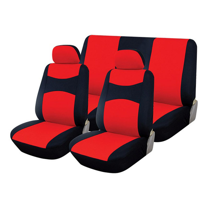 Seat Cover Set 6pc Black/red
