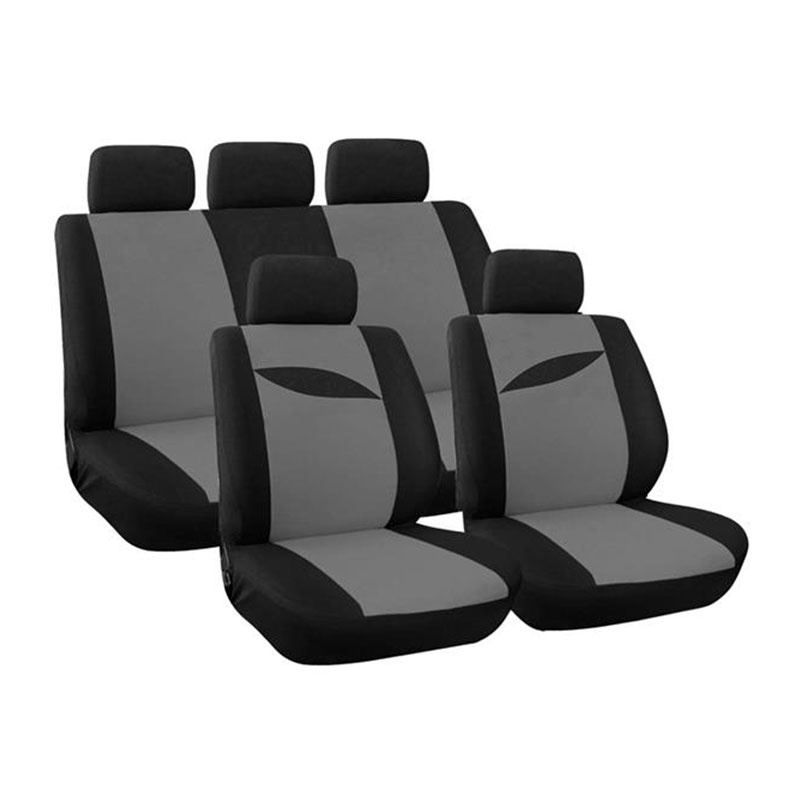Seat Cover Set 9pc Grey Leaf
