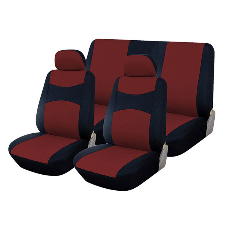 Seat Cover Set 6pc Black/burgundy