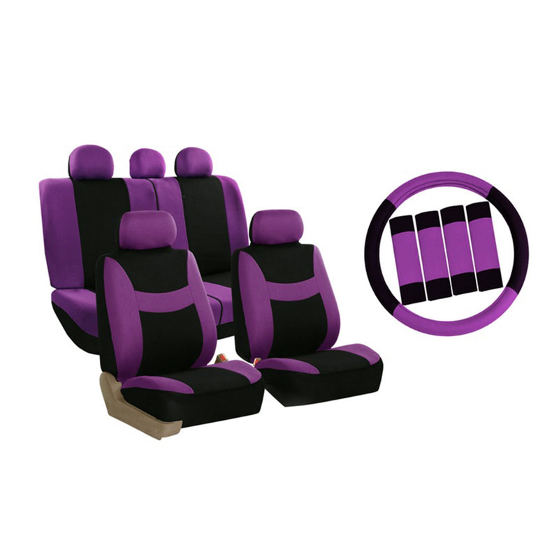 Seat Cover Set 14pc Purple W/seat Belt & Stg Cover