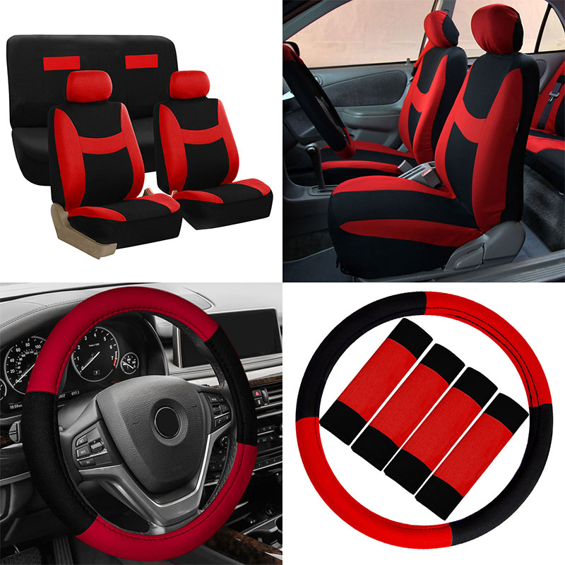 Seat Cover Set 14pc Red W/seat Belt & Stg Cover